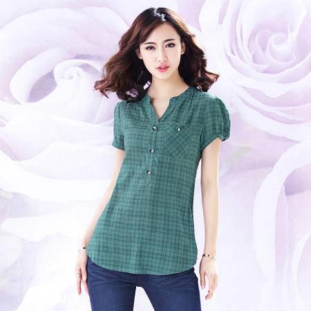 琳丹乐2015夏装新款大码女装韩版修身职业格子v领衬衫人棉上衣 女