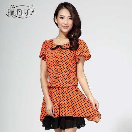 琳丹乐韩版夏装新款女裙 休闲撞色圆领短袖雪纺波点连衣裙