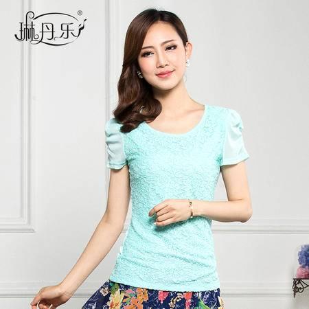 琳丹乐2015夏季韩版新品 女士蕾丝雪纺短袖T恤 修身显瘦青春靓丽