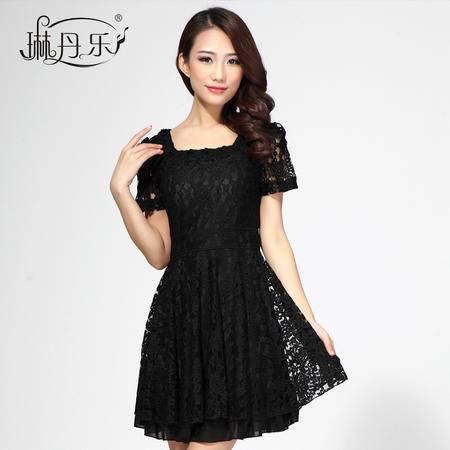 琳丹乐蕾丝连衣裙 夏装新款女装 韩版气质修身大码雪纺连衣裙