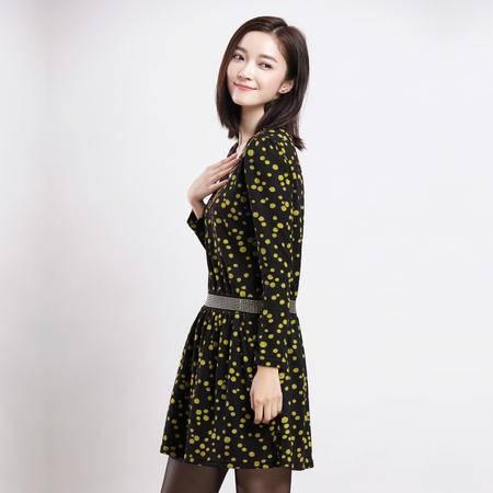 琳丹乐2015秋季新品圆领长袖优雅波点时尚简约钉珠腰显瘦连衣裙女