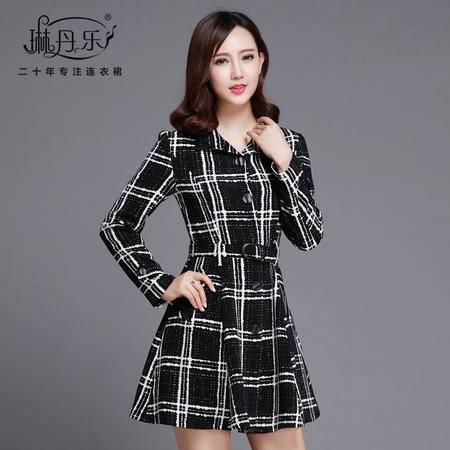 琳丹乐2016秋装新款韩版气质显瘦翻领单排扣大衣式经典格子连衣裙