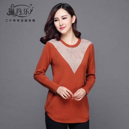 琳丹乐2016冬季新款韩版套头修身毛衣中长款圆领长袖羊毛衫针织衫