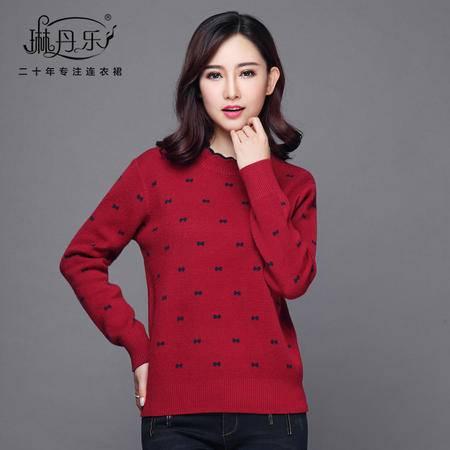 琳丹乐2016冬季新款韩版羊毛衫打底衫印花毛衣女士短款百搭针织衫