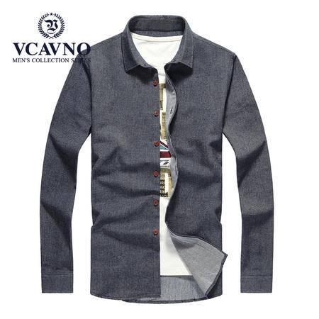 威卡维诺  春季新款加厚纯棉男士衬衣 商务休闲星星图案大码宽松厚衬衫男 15611