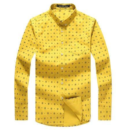 威卡维诺  春季新款加厚纯棉男士衬衣 商务休闲星星图案大码宽松厚衬衫男 15301