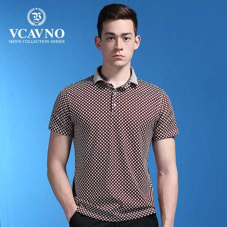 威卡维诺 夏季新款短袖T恤男装 商务休闲圆点印花图案双丝光棉polo衫 男 15311