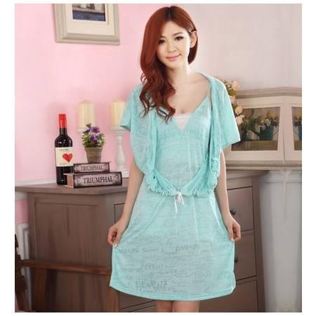 夏季可爱性感女睡裙诱惑吊带短袖睡衣女款家居服两件套