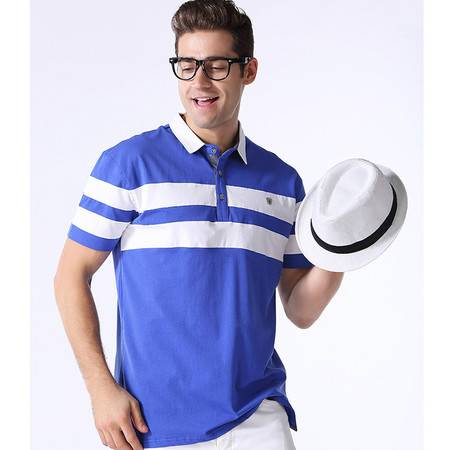 2016夏款针织棉休闲短袖POLO衫英伦风格条纹T恤 翻领