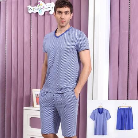 新洁霓男士睡衣夏季短袖短裤针织棉时尚家居服套装