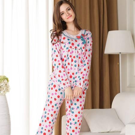 新洁霓秋季新款女士针织棉长袖长裤休闲舒适家居服系列