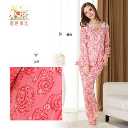 新洁霓秋季新品针织棉V领高贵玫瑰印花针织棉家居服
