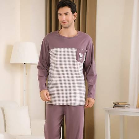 新洁霓秋款男士纯色针织棉格子套头家居服