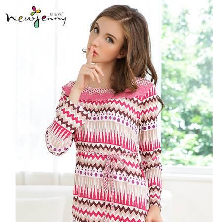 新洁霓 秋款睡衣女士针织棉优雅民族风格几何印花蕾丝圆领家居服