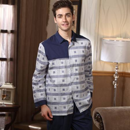 秋冬季外穿开衫立领男款睡衣梭织棉长袖格子拼接时尚休闲家居服