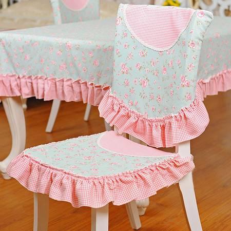 爱丽丝仙境系列 加厚全棉花边椅垫椅套组合2入