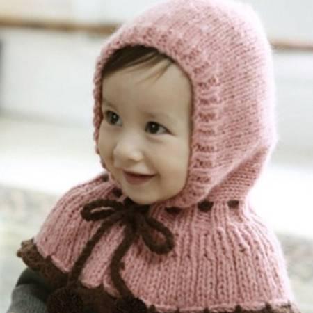 韩版纯色吊球连帽披肩儿童针织披肩