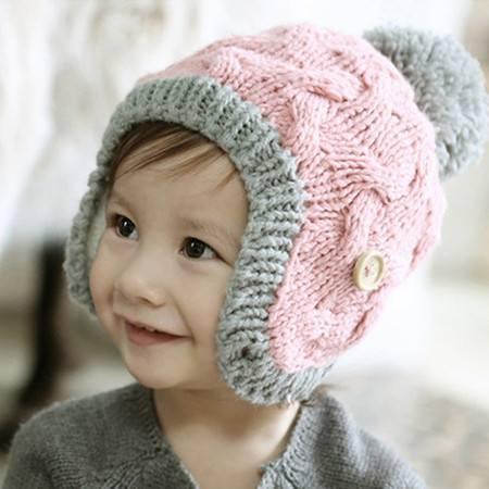 韩版拼色纽扣加厚儿童护耳帽