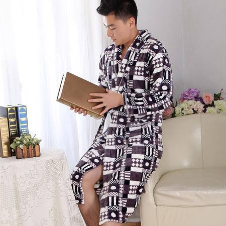 YOGA伊加 时尚空间 冬款加厚法兰绒男士睡袍