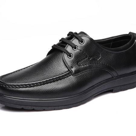 鳄鱼恤新品爆款商务休闲皮鞋透气系带男鞋英伦真皮正品男鞋