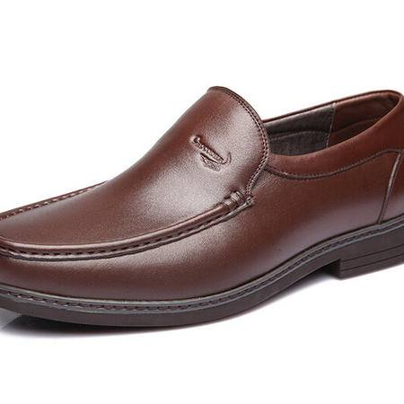 鳄鱼恤2015春季商务正装皮鞋男真皮头层皮舒适套脚男鞋办公室英伦