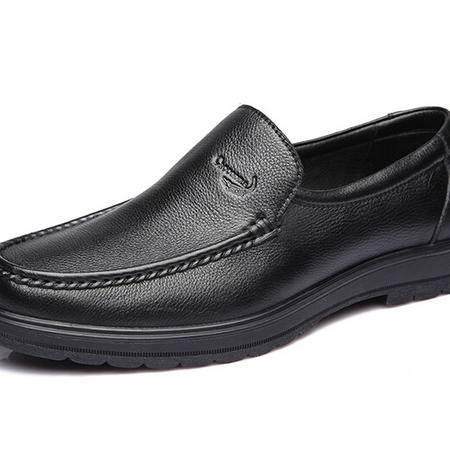 鳄鱼正品商务休闲男士皮鞋头层牛皮舒适套脚透气鞋