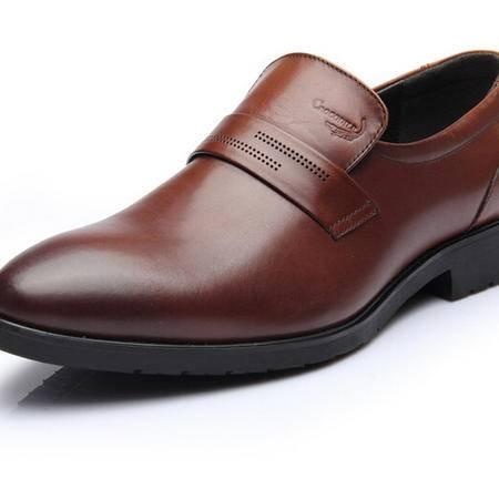 2015鳄鱼恤新品商务正装皮鞋套脚男士尖头英伦真皮头层皮男鞋婚鞋