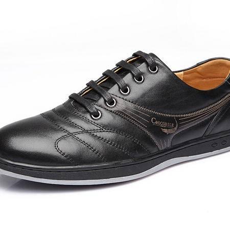 鳄鱼秋季新款时尚休闲男士皮鞋正品头层牛皮系带男鞋
