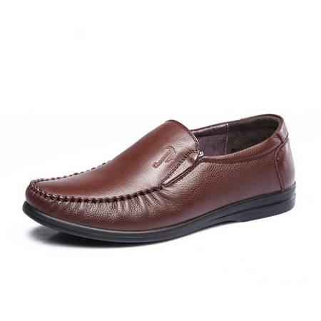 鳄鱼恤2015春季新款时尚休闲鞋真皮头层皮圆头套脚男士透气皮鞋