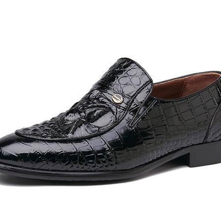 鳄鱼2014秋季新款高档鳄鱼皮男士商务正装皮鞋 真皮正品套脚鞋