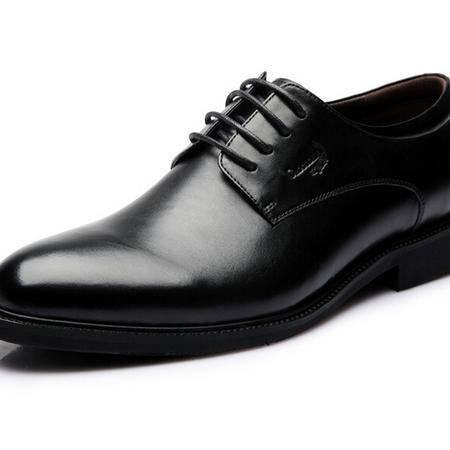 鳄鱼恤2015新品商务正装男士皮鞋系带真皮透气圆头正品皮鞋男