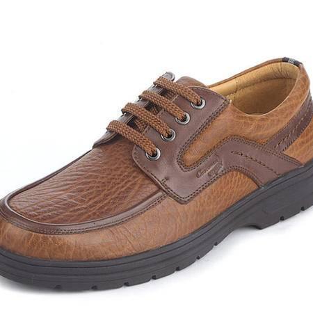 鳄鱼恤高档真皮牛颈纹商务休闲皮鞋减震系带男鞋英伦正品男鞋