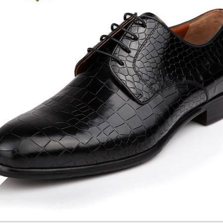 鳄鱼真皮鳄鱼纹皮鞋高档品牌男鞋 英伦尖头正装皮鞋