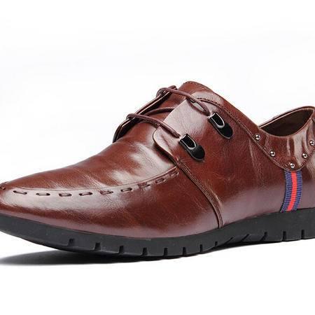 鳄鱼秋季新款时尚休闲男鞋舒适透气系带真皮男士皮鞋