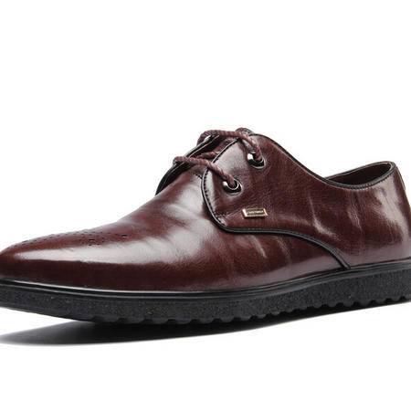 鳄鱼新款透气商务皮鞋男系带休闲英伦圆头男婚鞋