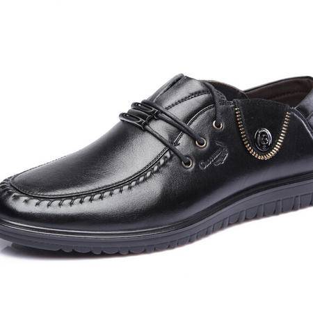 鳄鱼秋款头层牛皮男鞋正品英伦圆头系带商务休闲皮鞋