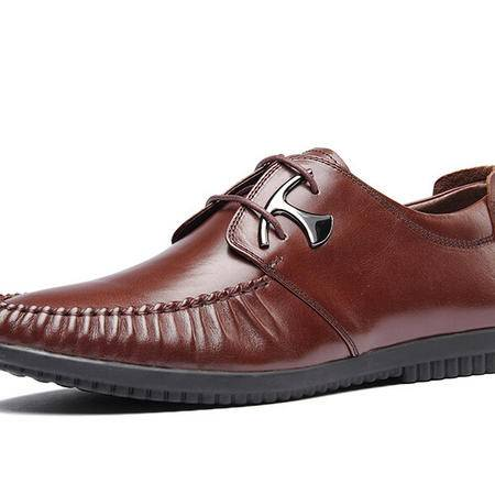 鳄鱼2014秋季新款潮流头层牛皮舒适系带时尚休闲皮鞋