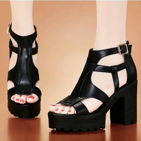 古奇天伦夏季新款甜美时尚粗跟高跟鞋鱼嘴罗马漆皮女凉鞋子