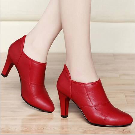 古奇天伦 春季新款尖头细跟高跟女鞋英伦深口单鞋低帮鞋子