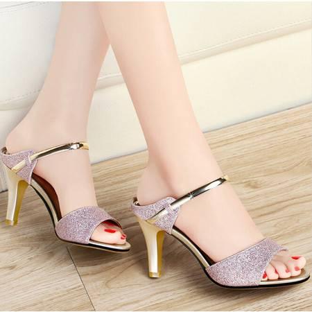 古奇天伦夏季新款一字式鱼嘴甜美时尚细跟纯色高跟女凉鞋子