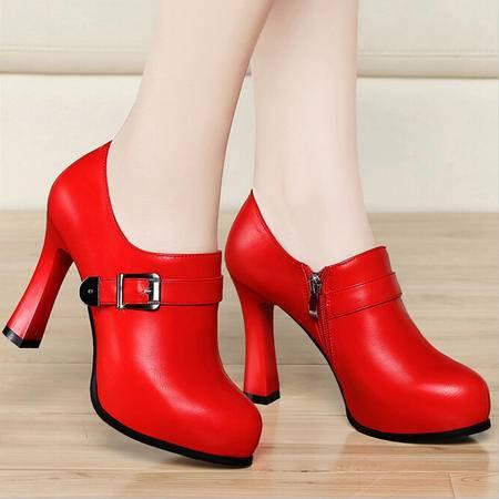 古奇天伦 春季圆头高跟鞋时尚细跟女鞋防水台低帮鞋子