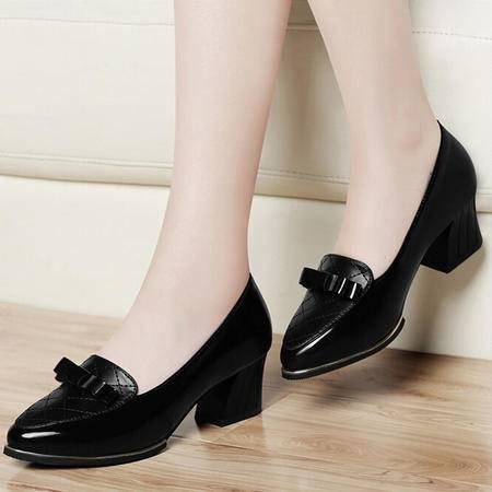 古奇天伦 春季女鞋蝴蝶结女鞋浅口漆皮鞋单鞋女尖头粗跟鞋