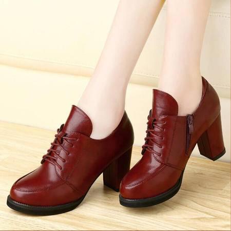 古奇天伦 春季女高跟鞋女鞋粗跟防水台英伦风单鞋