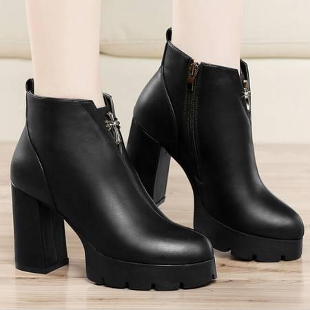 古奇天伦 春季新款时尚防水台女靴粗跟保暖高跟短靴骑士靴