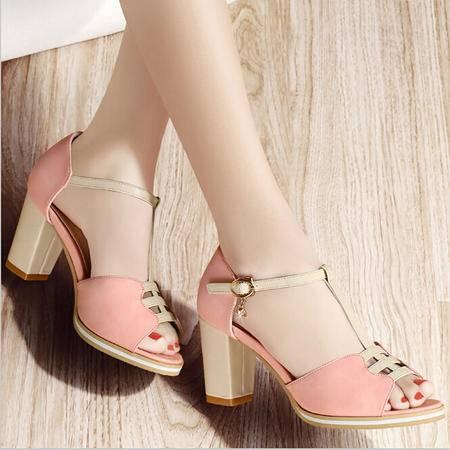 古奇天伦夏季新款清新简约拼色女鞋露趾粗跟防水台高跟凉鞋