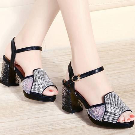 古奇天伦夏季新款水晶跟鱼嘴女凉鞋 低帮休闲网纱女鞋子