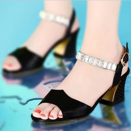 古奇天伦夏季新款女鞋 一字式扣粗跟高跟鞋 水钻鱼嘴休闲女凉鞋