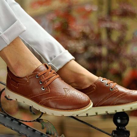 古奇天伦春季布洛克男鞋 真皮低帮鞋子 日常休闲鞋皮鞋