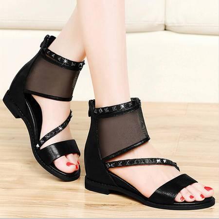 古奇天伦 露趾平跟女凉鞋软面甜美时装女鞋低跟水钻网纱凉鞋