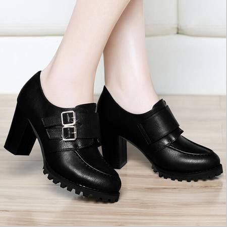 古奇天伦 春季单鞋休闲鞋粗跟女鞋高跟低帮鞋子